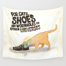 For Cats, Shoes are Wormholes to Other Universes Wall Tapestry