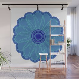 The Hand Drawn Funky Floral Retro Classic -Blue Moon Flower Design Wall Mural