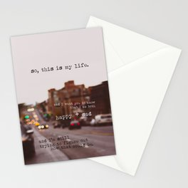 perks of being a wallflower - happy + sad Stationery Cards