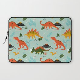 Jurassic Dinosaurs in Blue + Red Laptop Sleeve