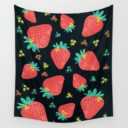 Strawberries   Black Wall Tapestry