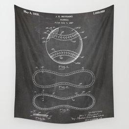 Baseball Patent - Softball Art - Black Chalkboard Wall Tapestry