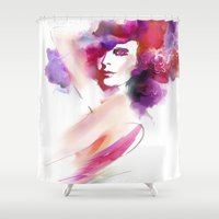 woman Shower Curtains featuring woman by tatiana-teni
