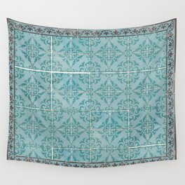 Victorian Turquoise Ceramic Tiles Wall Tapestry