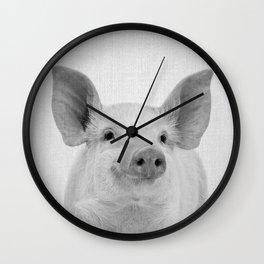 Pig - Black & White Wall Clock