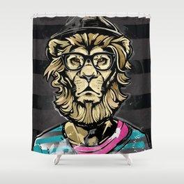 Hipster Lion on Black Shower Curtain