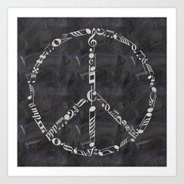 Music peace on chalkboard Art Print