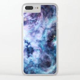 Tarantula Nebula Lavender Blue Dream Clear iPhone Case