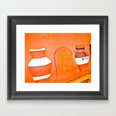 Human and cold rock. Framed Art Print