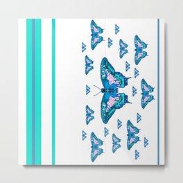 CONTEMPORARY LAGOON BLUE BUTTERFLIES MODERN ART Metal Print