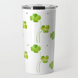 green clover leaf pattern watercolor Travel Mug