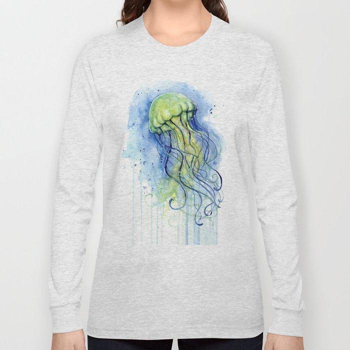 Jellyfish Watercolor Beautiful Sea Creatures Long Sleeve T-shirt