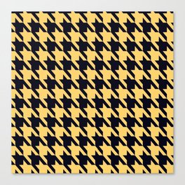 Yellow Black Houndstooth Canvas Print