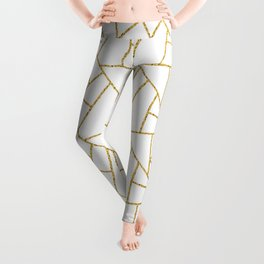 Gold and White Abstract Geometric Glitter Pattern Leggings