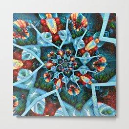 Fractal Art - Floral Spiral Metal Print