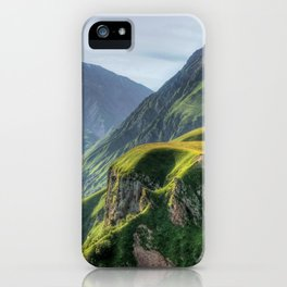 Mountains, green, gigantic, steep and rolling iPhone Case