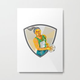 Netball Player Holding Ball Low Polygon Metal Print