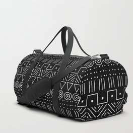 Mudcloth Style 1 in white on black Duffle Bag