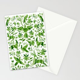 Mexican Otomí Design in Green Stationery Cards