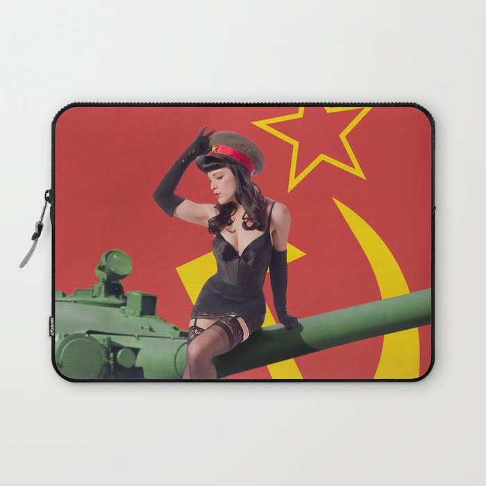 """""""Sovietsky by Land"""" - The Playful Pinup - Russian Tank Pin-up Girl by Maxwell H. Johnson Laptop Sleeve"""