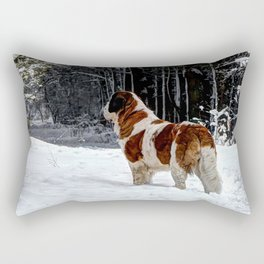 St Bernard in the snow Rectangular Pillow