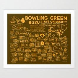 Bowling Green State University Map Art Print