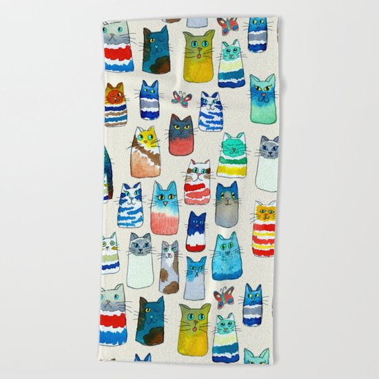 Lots of Watercolor Kitty Cats Beach Towel