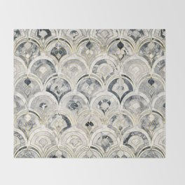 Monochrome Art Deco Marble Tiles Throw Blanket