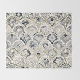 Monochrome Art Deco Marble Tiles Throw Blanket