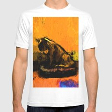 Cat and a Gold Wall White MEDIUM Mens Fitted Tee