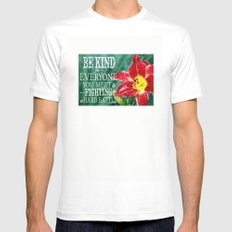 Be Kind - In Red MEDIUM White Mens Fitted Tee