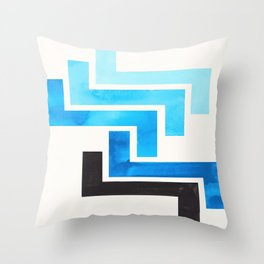 Cerulean Blue Aztec Pattern Mid-century Modern Simple Geometric Pattern Watercolor Minimalist Art Sq Throw Pillow