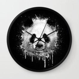 Cool Abstract Graffiti Watercolor Panda Portrait in Black & White  Wall Clock