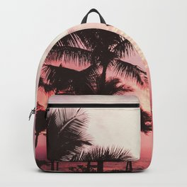 Tropical Palm Tree Pink Sunset Backpack