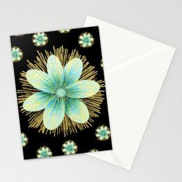 Gold Blue Black Flowers Floral Pattern Stationery Cards