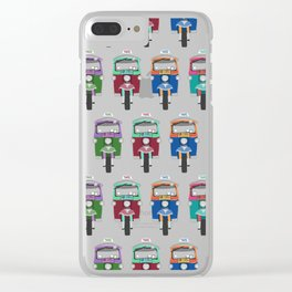 Thailand Tuk Tuks in a Row Pattern Clear iPhone Case