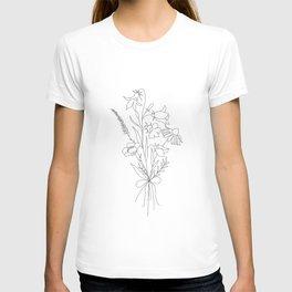 Small Wildflowers Minimalist Line Art T-shirt