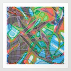 Colorful Abstract Stained Glass G299 Art Print