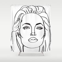 angelina jolie Shower Curtains featuring Angelina Jolie by weisart