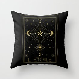 L'Etoile or The Star Tarot Gold Throw Pillow