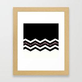 Black White Chevron Pattern Framed Art Print