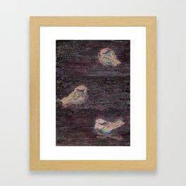 Weathered Chickadees Framed Art Print