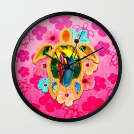 Hawaiian Surfboard Sunset Wall Clock