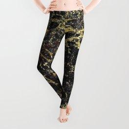 Marble - Glittery Gold Marble on Black Design Leggings