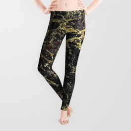 Marble - Glittery Gold Marble on Black Design Leggings