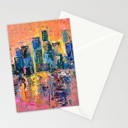 Pink Sky - abstract painting New York city skyline at sunset impressionism acrylic Stationery Cards