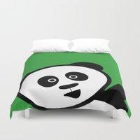 pocket fuel Duvet Covers featuring Pocket panda by Jaxxx