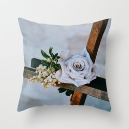 Rose on the Cross (Color) Throw Pillow
