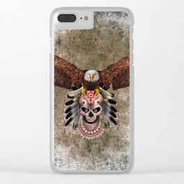 indian native Flaying Eagle sugar Skull iPhone 4 4s 5 5c 6, ipod, ipad, pillow case Clear iPhone Case