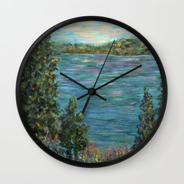 Gone Fishing, Impressionism Landscape Art Wall Clock